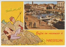 {40995} 34 Hérault Marseillan Village , Le Port ; Animée ; Illustration Signée André Vigno - Marseillan