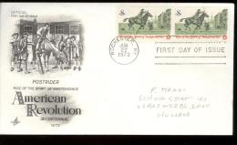 FDC 1973 - Scott 1478 - Cancelled ROCHESTER - POST RIDER   - WITH 2 STAMPS IN LINE - Premiers Jours (FDC)