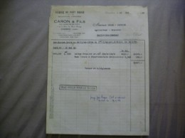 CAMBRAI  CARON & FILS SCIERIE DU PONT ROUGE EXPLOITATIONS FORESTIERES 3 ET 5 RUE DU PONT ROUGE FACTURE DU 31 MAI 1948 - 1900 – 1949