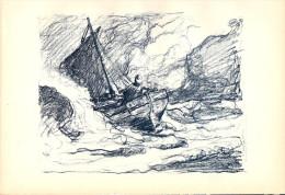 BERTRAM PRIESTMAN – Fisherman At Sea, 1898 Lithograph - FRANCO DE PORT - Lithographien