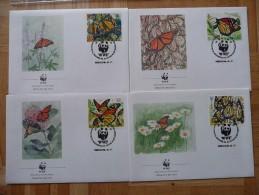WWF  Mexiko  Mexico Monarch Butterfly Monarchfalter Schmetterlinge Mariposa 1988 4 FDC Premier Jour - FDC