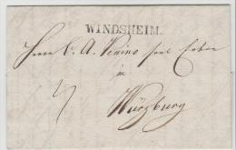 Bay375 /  BAYERN - Windsheim Einzeiler (Franken) 1833 Nach Würzburg - Duitsland