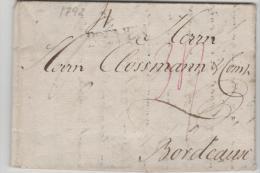 THT093c  THURN + TAXIS/ Bremen, Einzeiler 1792 Nach Bordeaux - Duitsland