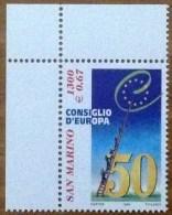 1999 SAN MARINO FRANCOBOLLO NUOVO STAMP NEW MNH** - Cinquantenario Del Consiglio D´Europa - - Nuovi