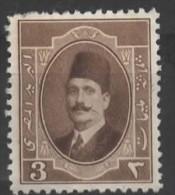 EGYPT 1923 King Fuad I  -  3m. - Brown MH - Nuovi