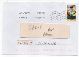 """2015-Lot De 2 Lettres  --tps Adhésifs Du Carnet """"Peintres-Fleurs""""---seul Sur Lettre-- - 1961-...."""