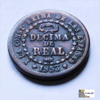 España - Isabel II - Décima De Real - 1853 - [ 1] …-1931 : Reino