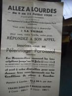 """Feuillet """"ALLEZ A LOURDES 5 Au 11 Juillet 1936 La Présidence Du Cardinal VERDIER (au Dos,manuscrit,relations Des époux) - Religion & Esotericism"""