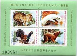N° Yvert & Tellier 182 - Bloc Feuillet De Roumanie (1986) - MNH - Chat Sauvage-Hermine-Grand Tétra-Ours (JS) - Blocs-feuillets