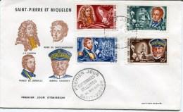 Env. 1 Ier Jour PERSONNAGES CELEBRES Du 20/05/1968 Avec N°390 à 393 - St.Pierre Et Miquelon