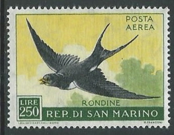 1959 SAN MARINO POSTA AEREA UCCELLI 250 LIRE MNH ** - W11-6 - Posta Aerea