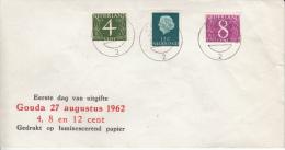 NEDERLAND 1962 FDC MICHEL 471 Za, 641 ZzA & 691ZzA GEDRUKT OP LUMINESCEREND PAPIER - FDC
