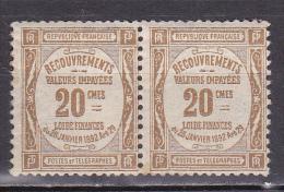 N° 45 Taxes Typographie Dentelés: 20c Bistre: Belle Paire De 2 Timbres Nuef Sans Charnière Impéccable - Taxes
