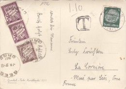 1592# ALLEMAGNE CARTE POSTALE Obl EBINGEN WURTT 1937 TAXE SEES ORNE MACE - Marcophilie (Lettres)