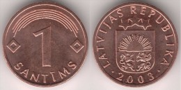 LETONIA   1  SANTIMS   2.003  CU ST   KM#15   SC/UNC    T-DL-11.650 - Letonia