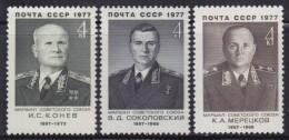 4347. Russia, USSR, 1977, Soviet Marshals, MNH (**) Michel 4598-4600 - 1923-1991 USSR