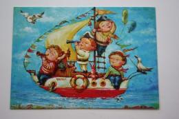 Ukraine. KATYA DUDNIK -  Modern Pc - CHILDREN - Bunny Seagull - AIRSHIP - - Dirigibili