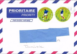 Z] Enveloppe Cover France Football Soccer Coupe Du Monde World Cup 2006 Timbres Ronds Round Shaped Stamps - Football