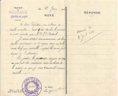 SOUANCE AU PERCHE PAPIER DE LA MAIRIE AVEC CACHET ANNEE 1911 - Francia