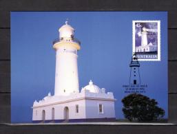 """AUSTRALIE 2002 : Carte Maximum Et PAP Neuf """" PHARES D'AUSTRALIE """". Voir Le Scan. Parfait état. CM - Vuurtorens"""