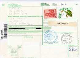 SCHWEIZ 1995 - 2 Fach Frankierung (21 F) Auf Paketkarte Gel.v. Spiez > Witten BRD - Brieven En Documenten