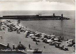 Toscana-grosseto-castiglione Della Pescaia Veduta Spiaggia E Fari Animata Anni 50 - Italia