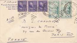 USA 1947 - 5 Fach Frankierung Auf Brief Gel.v. New York > Paris - 1847-99 Unionsausgaben