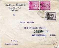 CHILE 1936 - 3 Fach Frankierung +6 Stempel Auf Firmenbrief Gel.v.Valdivia > San Francisco - Chile