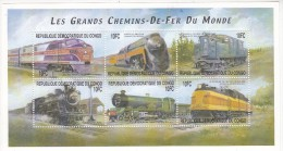 Trein, Train, Locomotive, Railway: Congo 2001 Mi Nr 1557 - 1562 Blok 6*10 Fc  Postfris - Trains