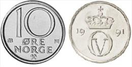 NORUEGA   10 ORE  1.991  Cu Ni   KM#416   SC/UNC     T-DL-11.655 - Noruega