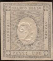 SI53D Italia Sardegna 1861 1 C. - Cifra In Rilievo Fr. Per Le Stampe ERRORE Di Cifra 2   Unificato TR1g - Sardinia