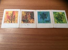 """Calendrier 1967 (4 Volets) """"mouchoir Tissgar Nouvelles Galeries ROUEN (76) / 4 Saisons"""" (10x30cm) - Petit Format : 1961-70"""