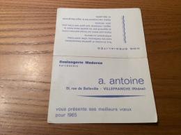 """Calendrier 1965 """"Boulangerie Moderne A. Antoine VILLEFRANCE (69)"""" (12x16cm) - Petit Format : 1961-70"""