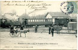 Nangis 77 Gare De Tramway De Bray à Sablonnieres -  Locomotive Vapeur - Ane - Attelage  - Top ! - Nangis