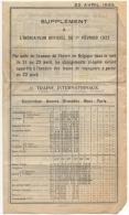 Train. Supplément à L'Indicateur Officiel Du 1er Février 1923. Trains Internationaux & Locaux. - Europe