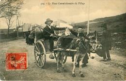 Cpa LANGOGNE 48 Le Vieux Commissionnaire Du Village- Attelage - Charrette - Ane - Langogne