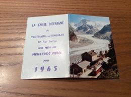"""Calendrier 1965 """"CAISSE D´ÉPARGNE VILLEFRANCHE (69) / Cl. Celiard Le Montenvers (train, Chamonix 74)"""" (9x12,2cm) - Petit Format : 1961-70"""