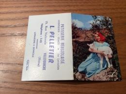 """Calendrier 1965 """"PATISSERIE BEAUJOLAISE PELLETIER VILLEFRANCHE (69) / Cliché A.M. BERGER (bergère, Chèvre)"""" (9x12,2cm) - Petit Format : 1961-70"""