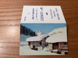 """Calendrier 1965 """"Lingerie CONTET VILLEFRANCHE (69) /Cliché CAP Vieux Chalets Val D´Isère (73) Montagne, Neige (9x12,2cm) - Petit Format : 1961-70"""