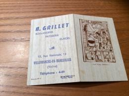 """Calendrier 1965 """"Boulangerie GRILLET VILLEFRANCHE (69) /Les Vieux Métiers - LE CHIMISTE"""" (9x12,2cm) - Petit Format : 1961-70"""