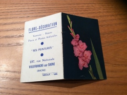 """Calendrier 1965 (4 Pages Intégrés) """"FLORE DÉCORATION VILLEFRANCE (69) / Cliché ESPINAT (fleur)"""" (9x12cm) - Petit Format : 1961-70"""