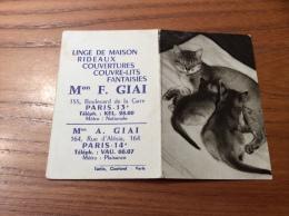 """Calendrier 1964 """"Linge F. GIAI PARIS (75) / Cliché DIM Chatons (chat)"""" (9x12,2cm) - Petit Format : 1961-70"""