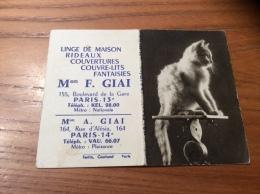 """Calendrier 1964 """"Linge F. GIAI PARIS (75) / Cliché DIM (chat)"""" (9x12,2cm) - Petit Format : 1961-70"""