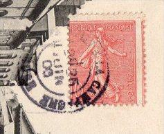 1906 - Semeuse Lignée 10ct Rose (yvert N°129) - Piquage à Cheval Timbre Décentré à Gauche. - Storia Postale