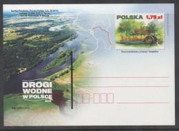POLAND, 2015, MNH, SHIPS, WATERWAYS, RIVERBOATS,  PREPAID POSTCARD - Barche