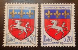 1510 France 1966 Oblitéré Armoiries De Villes Saint Lo  Différence De Couleurs - Gebraucht
