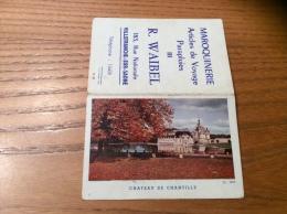 """Calendrier 1962 """"MAROQUINERIE R. WAIBEL VILLEFRANCHE (69) /CHATEAU DE CHANTILLY (60)"""" (9x12cm) - Petit Format : 1961-70"""
