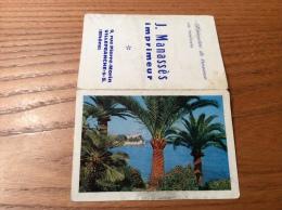 """Calendrier 1962 """"Imprimeur J. Manasses VILLEFRANCHE (69) /Photo Trubert Une Vue D'Antibes (06)"""" (9,4x13cm) - Petit Format : 1961-70"""