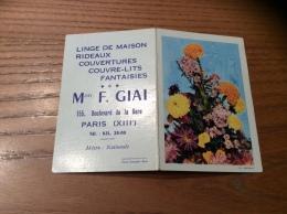 """Calendrier 1961 """"Linge F. GIAI PARIS (75) / Cliché ESPINAT (fleur)"""" (8,9x12cm) - Petit Format : 1961-70"""