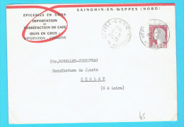 Enveloppe Commerciale Epicerie Torréfaction Café Oeufs  59 Nord Sainghin En Weppes  Cachet 1962 - Other
